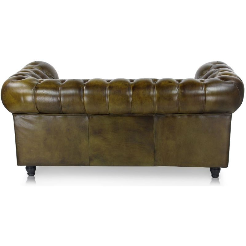 Canapé chesterfield cuir vert olive 2 places