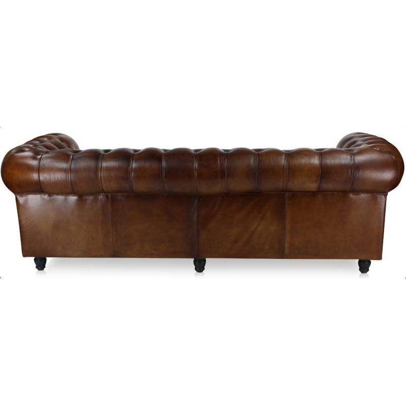 Canapé chesterfield cuir marron soutenu - 3 places