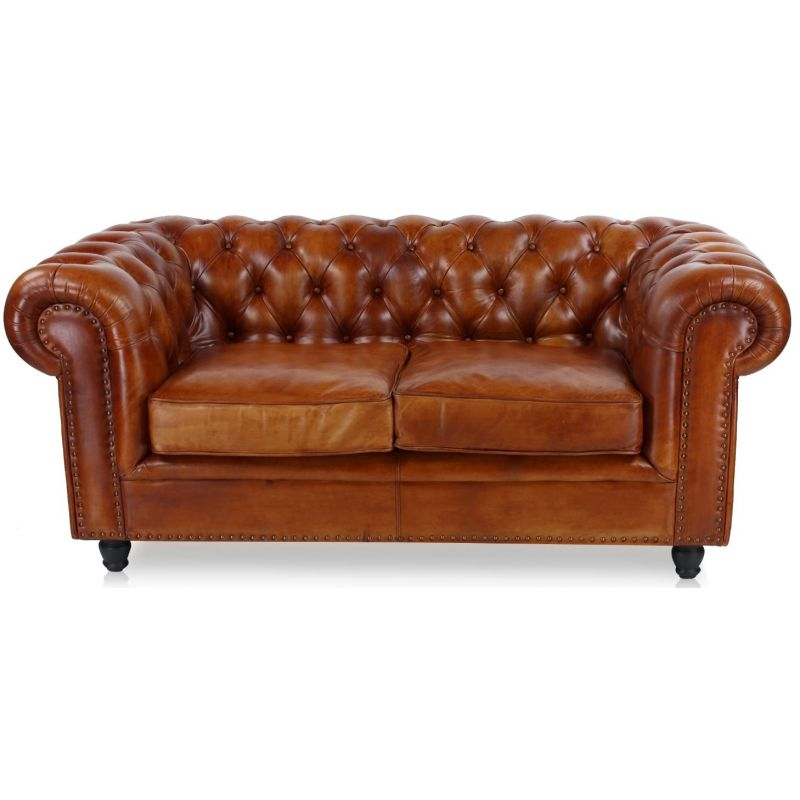 Canapé chesterfield cuir 2 places marron clair