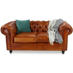 Canapé chesterfield cuir marron clair - 2 places