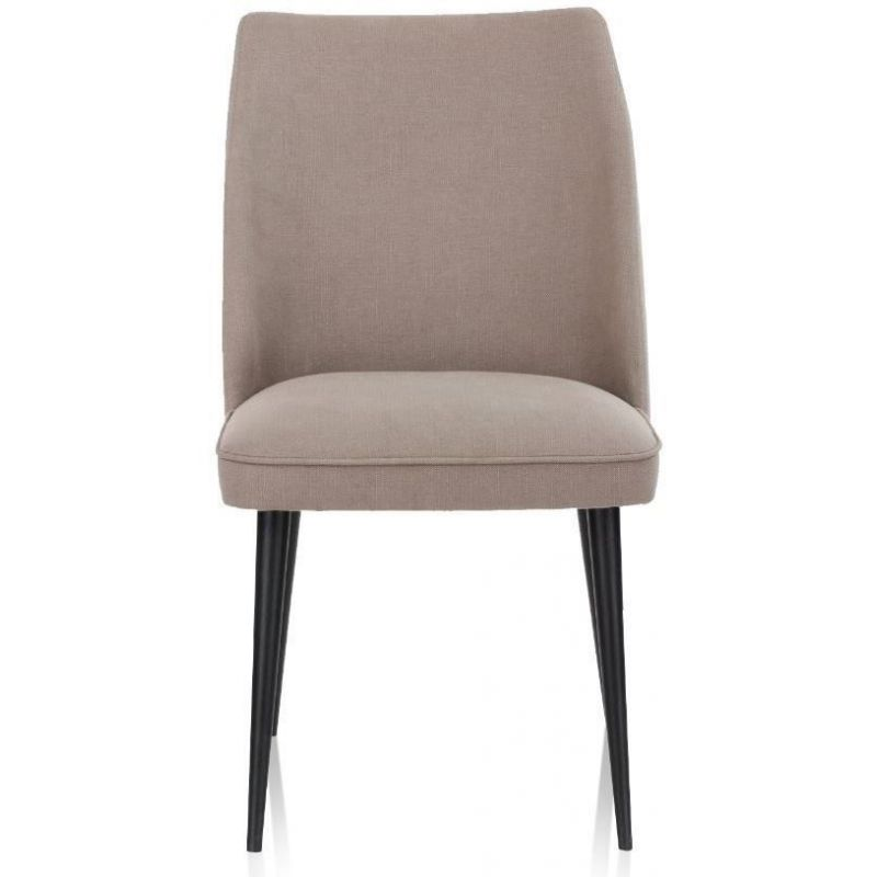 Chaise design tissu coton lin taupe, pieds noirs - Mette