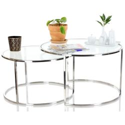 Table basse double verre transparent - Gatsby