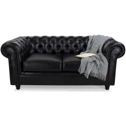 Canapé chesterfield cuir noir GM - 2 places