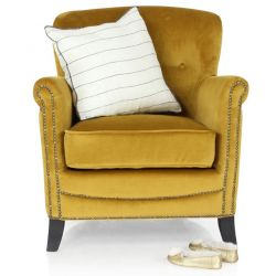Fauteuil club velours gold - Middletown