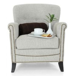 Fauteuil club tissu beige chiné - Middletown