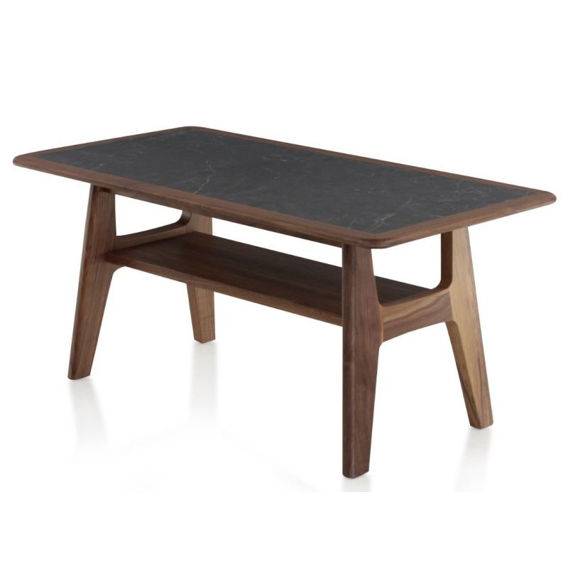 Table basse en noyer et céramique greco - Collection H