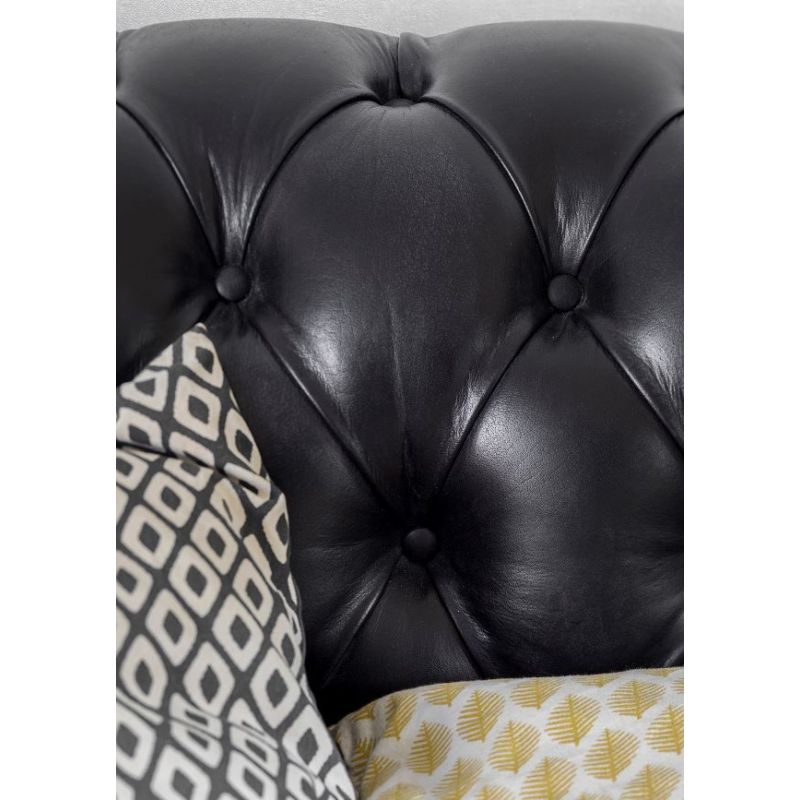 Canapé chesterfield cuir noir - 2 places