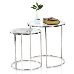 Table d appoint métal et verre transparent, lot de 2 - Gatsby