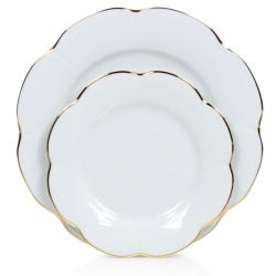 Assiette porcelaine à dessert, lot de 6 - Nymphéa blanc filet d'or