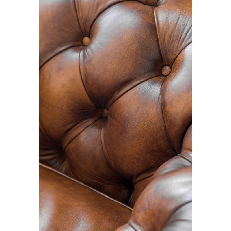Canapé Chesterfield cuir marron vintage