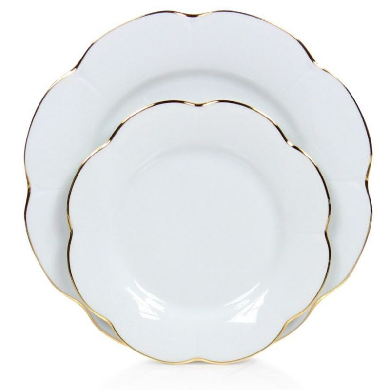 Assiette porcelaine plate, lot de 6 - Nymphéa blanc filet d'or