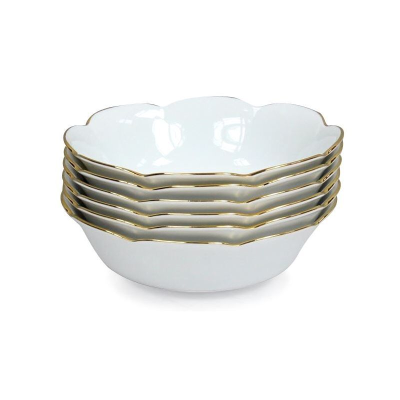 Coupelle porcelaine, lot de 6 - Nymphéa blanc filet d'or
