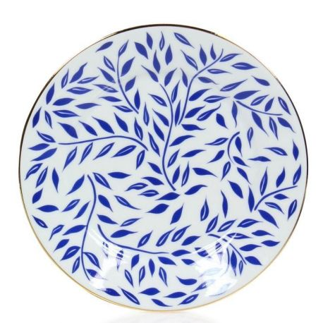 Assiette porcelaine à dessert, lot de 6 - Récamier olivier bleu filet d'or