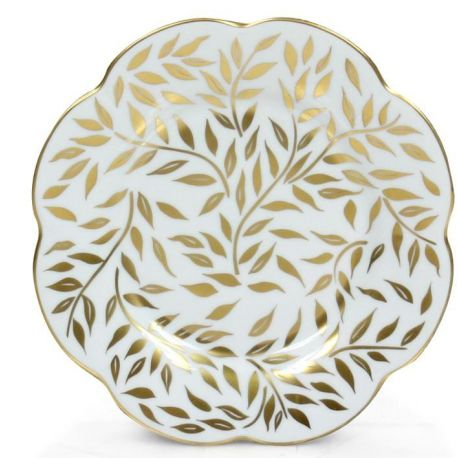 Assiette porcelaine plate, lot de 6 - Nymphéa olivier or filet d'or