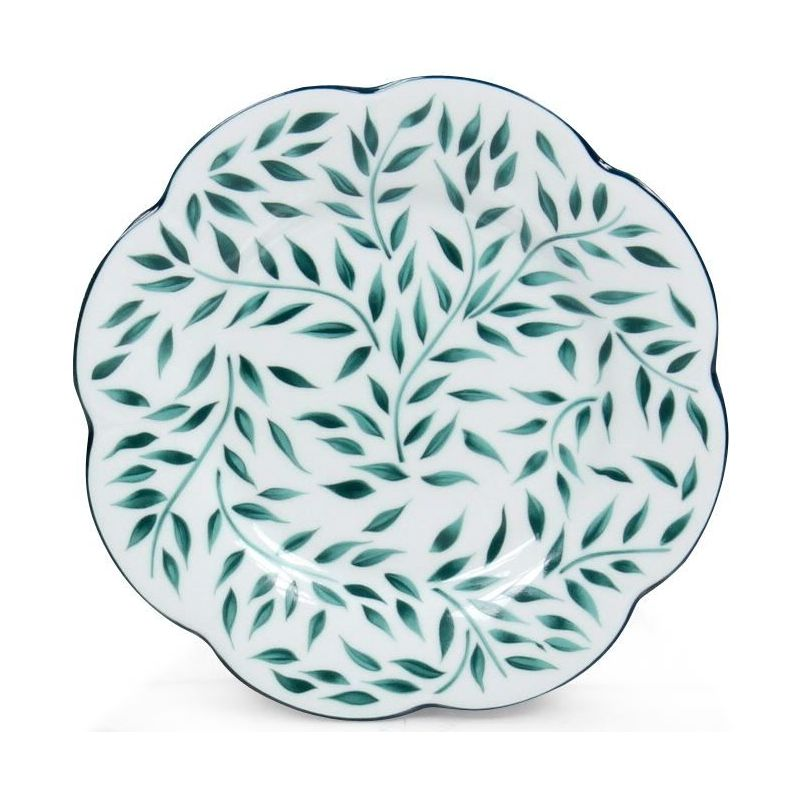 Assiette porcelaine à dessert, lot de 6 - Nymphéa olivier vert filet vert