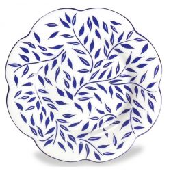 Assiette porcelaine plate, lot de 6 - Nymphéa olivier bleu filet bleu