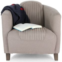 Fauteuil club tissu coton lin taupe - Orsay sport