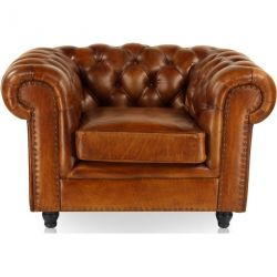 Fauteuil chesterfield cuir marron clair - Grand