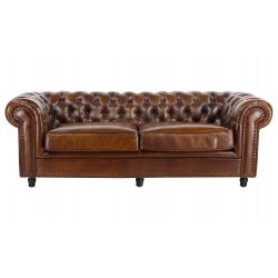 Canapé chesterfield convertible cuir marron vintage GM - 3 places