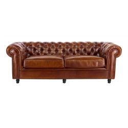 Canapé chesterfield convertible cuir marron clair - 3 places