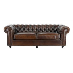 Canapé chesterfield convertible cuir marron soutenu - 3 places