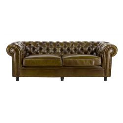 Canapé chesterfield convertible cuir vert olive GM - 3 places