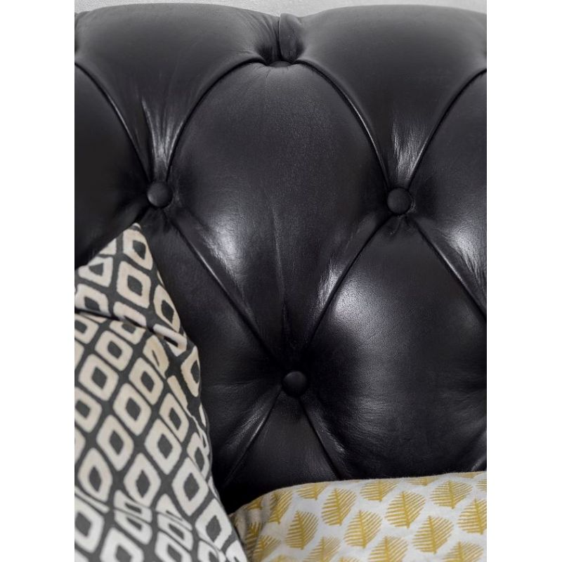 Canapé chesterfield cuir noir - 3 places