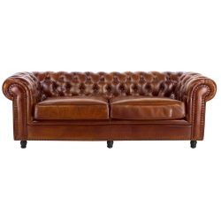 Canapé chesterfield marron clair - 3 places