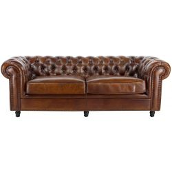 Canapé chesterfield cuir marron vintage GM - 3 places