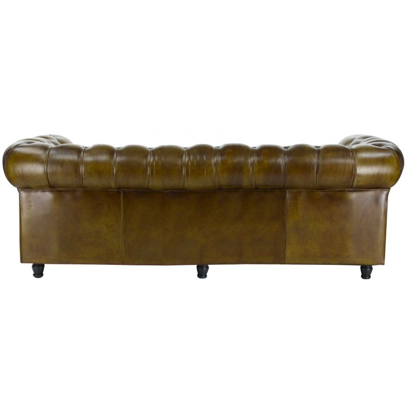 Canapé chesterfield cuir vert olive - 3 places