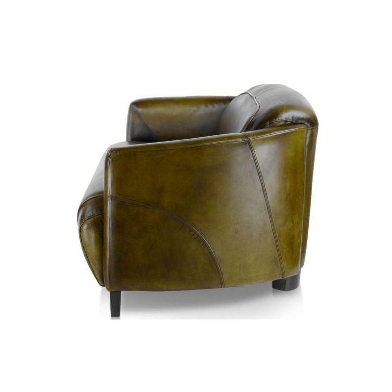 Canapé club cuir vert olive 2 places - Orsay