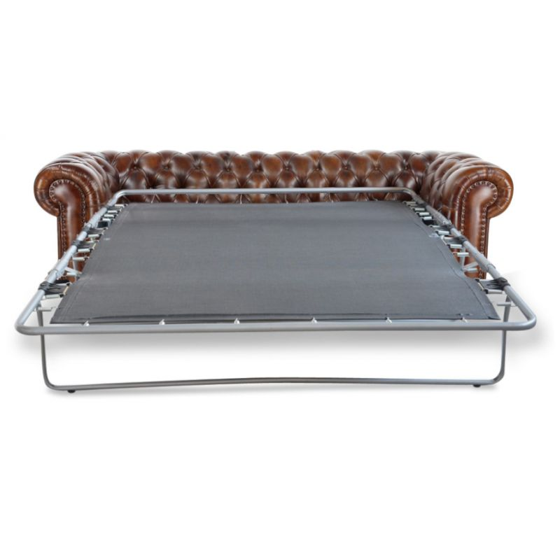 Canapé chesterfield convertible cuir marron vintage - 3 places