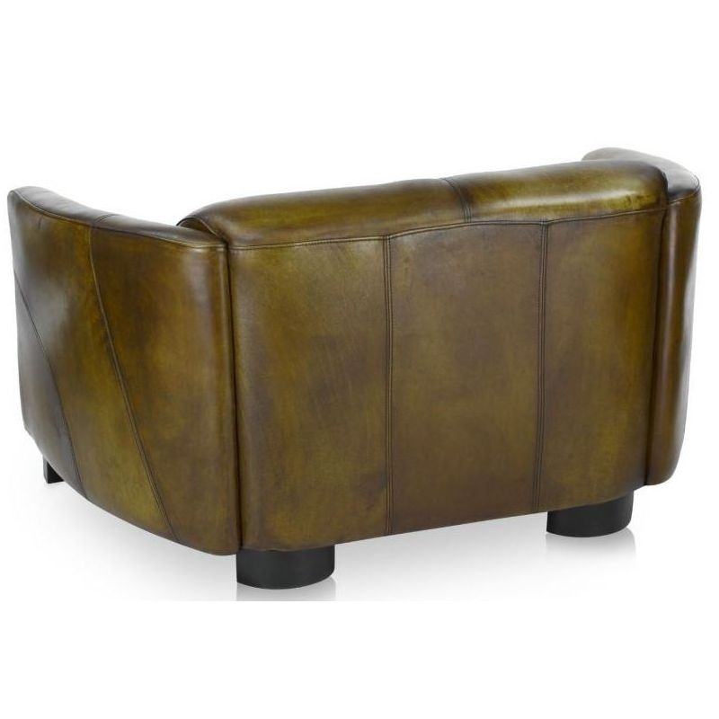 Canapé club cuir vert olive 2 places - Orsay sport