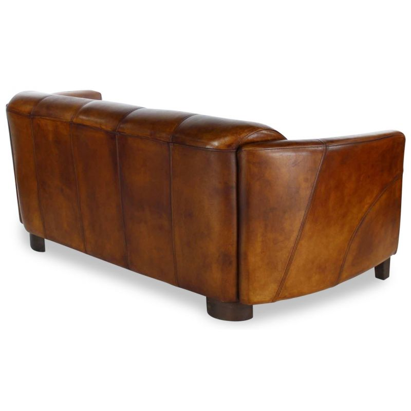 Canapé club cuir marron vintage 3 places - Orsay sport