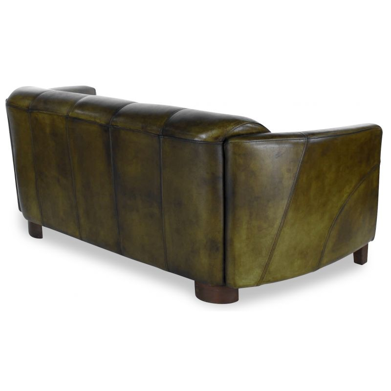 Canapé club cuir vert olive 3 places - Orsay sport