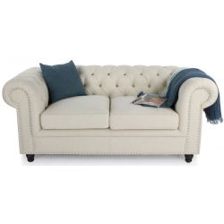 Canapé chesterfield tissu beige naturel GM - 2 places