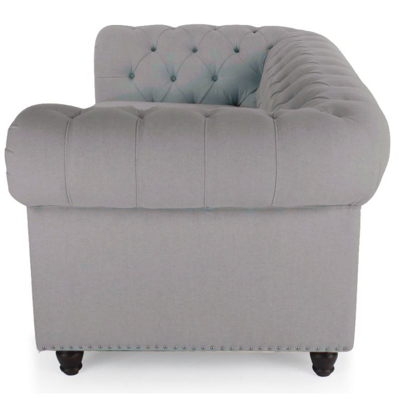 Canapé chesterfield tissu taupe - 2 places