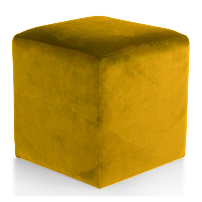 Pouf tissu velours gold - Cube