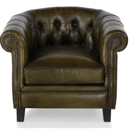 Fauteuil chesterfield cuir vert olive - petit