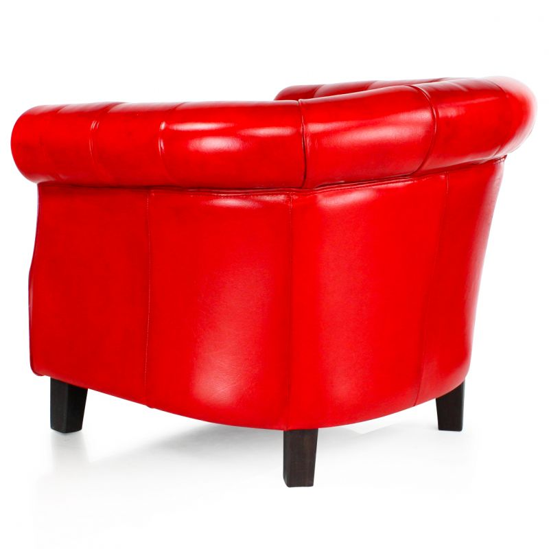 Fauteuil chesterfield cuir rouge - petit