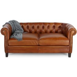 Canapé chesterfield cuir marron clair - Petit - 2 places