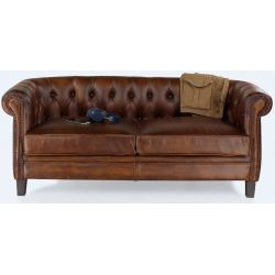 Canapé chesterfield cuir marron vintage - Petit - 2 places