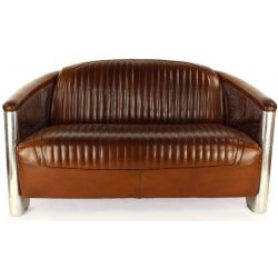 Canapé aviateur cuir marron vintage 2 places - Saintex