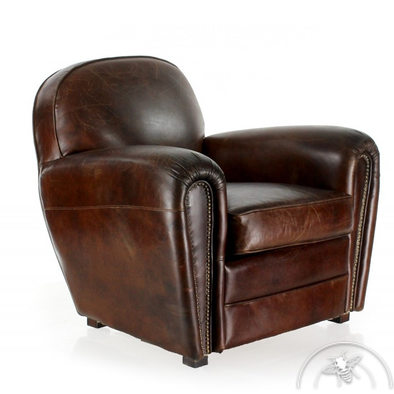 fauteuil club cuir ancien saulaie saulaie. Black Bedroom Furniture Sets. Home Design Ideas
