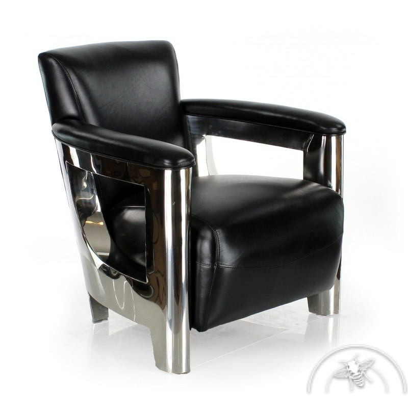 fauteuil club noir cuir saulaie saulaie. Black Bedroom Furniture Sets. Home Design Ideas