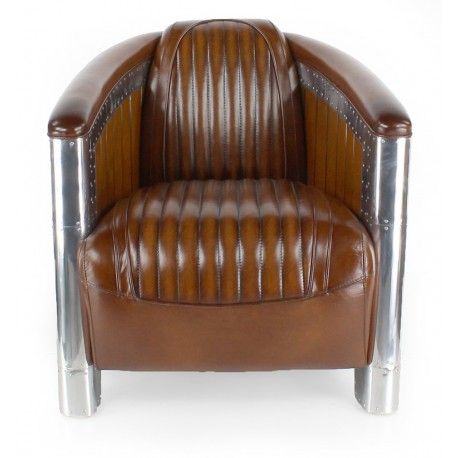 fauteuil club cuir marron vintage normandie saulaie. Black Bedroom Furniture Sets. Home Design Ideas